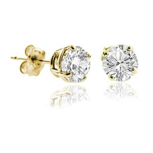 1.00ct. Genuine Natural Round Diamonds Solitaire Earrings 14k Yellow Gold Prong Setting On Sale