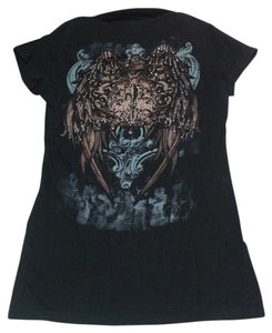 Bling Bling Fitted Embellished Graphic T Shirt Black