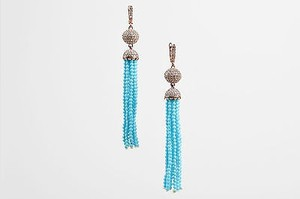 Rose Gold Tone Turquoise Cubic Zirconia Beaded Fringe Tassel Earrings