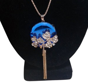 Betsey Johnson Betsey Johnson Long Blue Crystal W/ Tassles Necklace N301