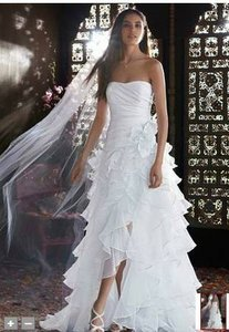 David's Bridal Strapless Taffeta High Low Ruffle Skirt Gown T3505 Wedding Dress