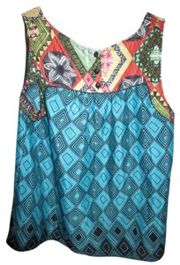 Chole K Going Out Night Out Cute Blue Top Mixed Shapes & Flowers