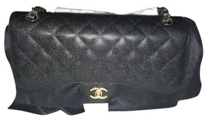 Chanel Ghw Classic Jumbo Size Quilted Caviar Shoulder Bag