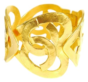 Chanel Vintage Chanel Heart Motif Gold Cuff Bracelet, Bangle