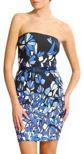 Mango Floral Abstract Strapless Dress