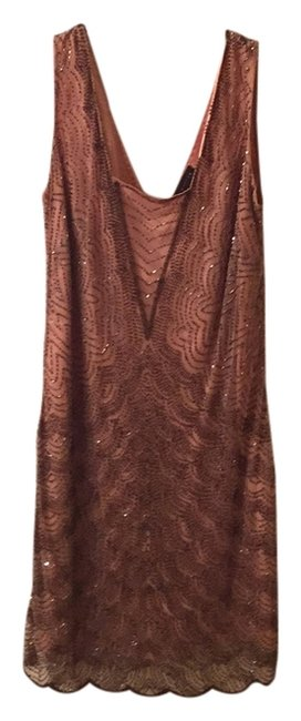Item - Nude and Bronze Beading Knee Length Cocktail Dress Size 8 (M)
