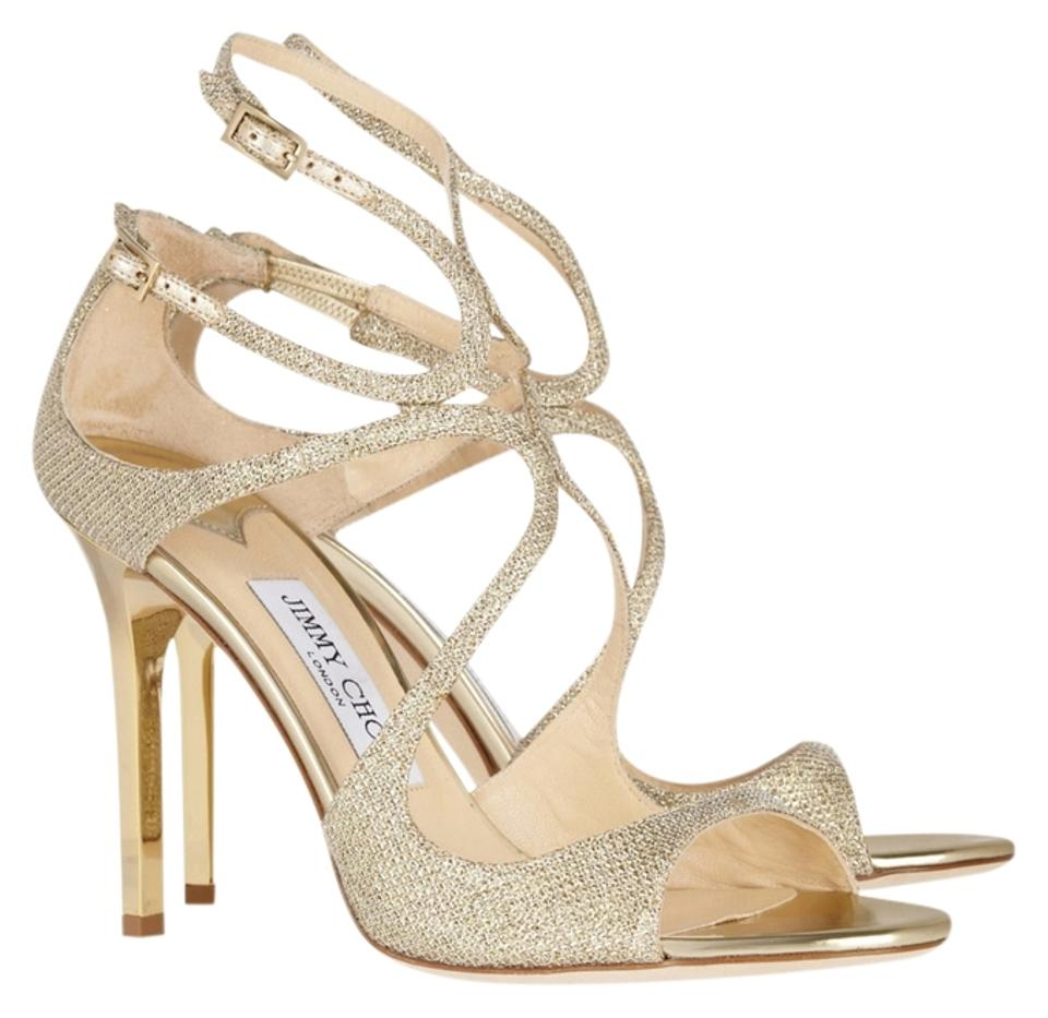 e109b3675fec Jimmy Choo Gold Lame Lang Glitter Textured Pumps Strappy Sandals Formal  Shoes