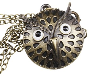 Unknown Antique Owl Quartz Watch Necklace Free Shipping