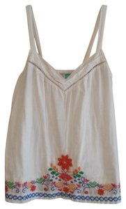 Hang Ten Summer Embroidery Embroidered Floral Top white