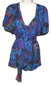 Nanette Lepore #silk #wrap #shortsleeve Top Blue Multi