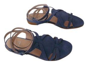 Stuart Weitzman Greek Leather Lined Suede Attractive Design Blue Jeans Sandals