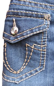 Earl Jean #rhinestone Capri/Cropped Denim-Medium Wash