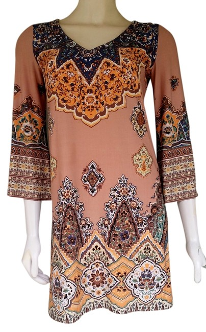Muse short dress Multi Mini Boston Proper 3/4 Sleeves Tan on Tradesy