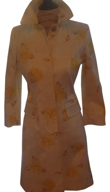Item - Yellow and White Print Spring Coat Size 4 (S)