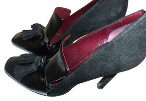 Céline Patent Leather Suede Leather Black Pumps