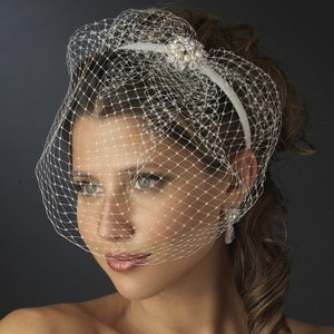 Elegance by Carbonneau Ivory Birdcage Headband with Pearl Ornament Bridal Veil