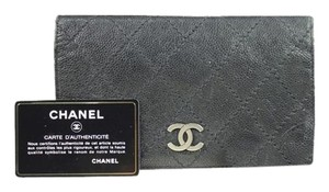 Chanel Black Caviar Leather Silver CC Wallet CCTL24