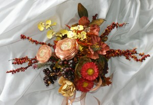 Contemporary Autumn Bridesmaid Silk Wedding Bouquet