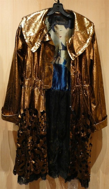 Lie Sang Bong - Paris Laser Cut Flashy High Style Gold Metallic over Black Lace Leather Jacket