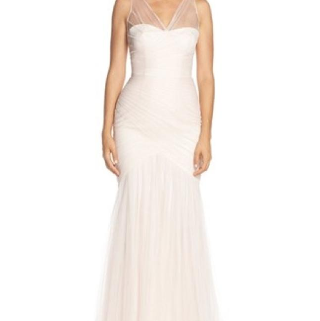 Item - Blush Tulle Illusion Yoke Pleat Trumpet Gown Feminine Wedding Dress Size 6 (S)