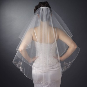 Elegance By Carbonneau Two Layer Beaded Embroidery Wedding Veil