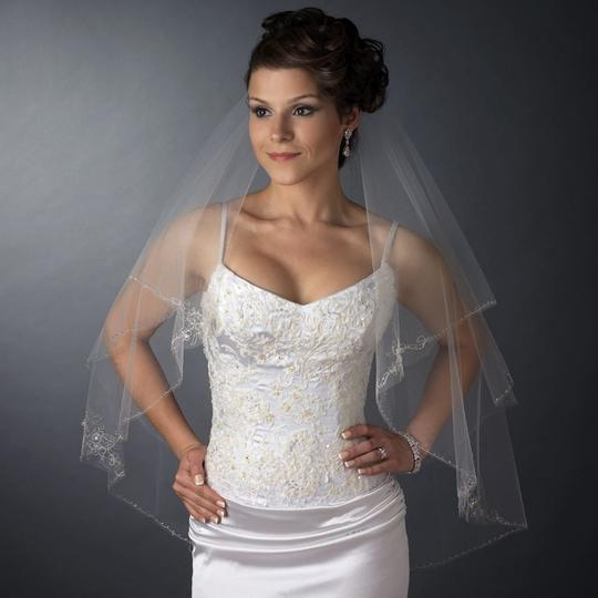 Elegance by Carbonneau Ivory Medium Two Layer Beaded Embroidery Bridal Veil