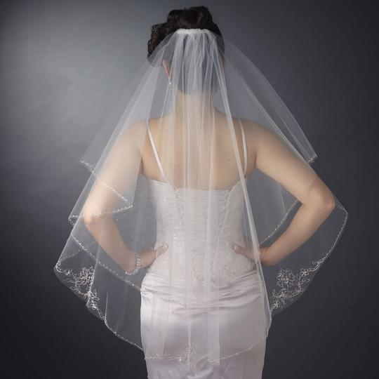 Elegance By Carbonneau Beaded Embroidery Two Layer Fingertip Length Wedding Veil