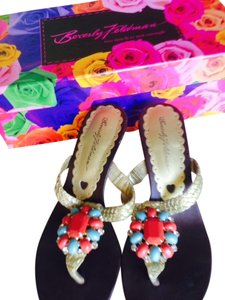 Beverly Feldman Gold/multi Sandals