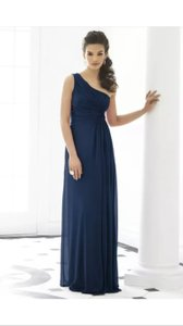 After Six Midnight Blue Navy Chiffon One Shoulder Gown Style 6651 Formal Bridesmaid/Mob Dress Size 12 (L)