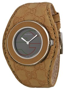 Gucci GUCCI U-Play Grey Dial Beige Leather Ladies Watch YA129426