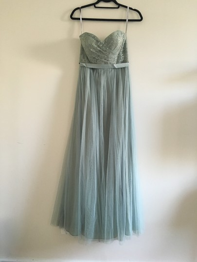 BHLDN Sage Nylon Metallic Polyester; Polyester Lining Juliette Feminine Bridesmaid/Mob Dress Size 4 (S) Image 1