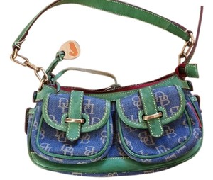 Dooney & Bourke Duck Monogram Canvas Leather Satchel in blue green
