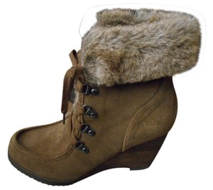 Marc Fisher Suede Ankle Faux Fur Mocha Boots