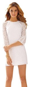 Lilly Pulitzer short dress White Rylee Lace Wedding 3/4 Sleeve on Tradesy