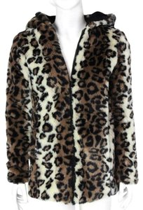 Lucca Couture Faux Fur Hooded Fuzzy Cheetah Fur Coat