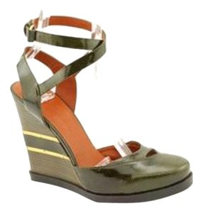 Marc by Marc Jacobs Heel Sexy Trendy Strappy Crisscross Strap Ankle Strap Fashion Pat. Grey Wedges