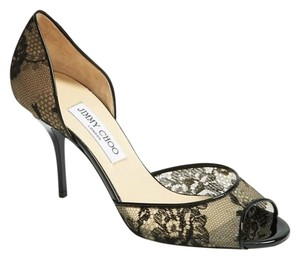 Jimmy Choo Lace Lien Open Toe 41 Black Pumps