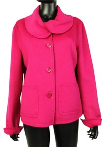 St. John Button Down Coat Round Collared Pink Jacket