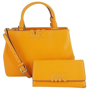Michael Kors Florence Tri Fold Satchel in Vintage Yellow