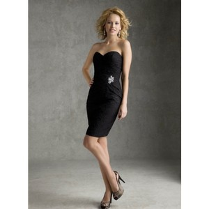 Mori Lee Black Lace Formal Bridesmaid/Mob Dress Size 6 (S)