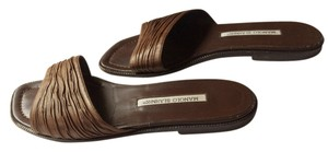 Manolo Blahnik Contemporary Brown Leather Mules