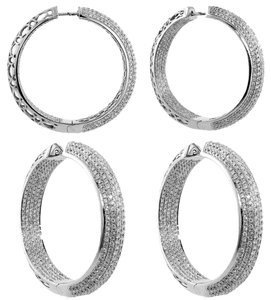 ABC Jewelry Pave Hoop Earrings