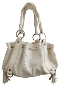 Sondra Roberts Leather Silver Hardware Tassels Hobo Bag