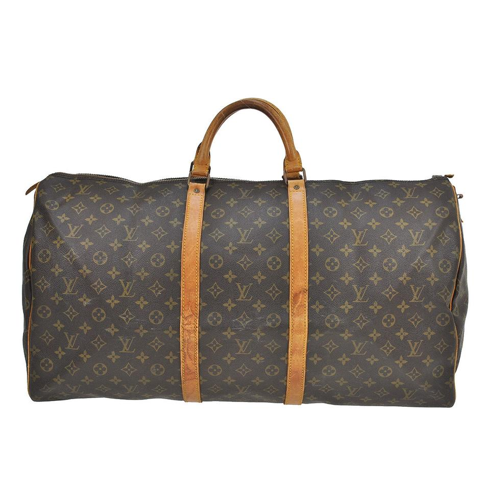 louis vuitton brown monogram keepall weekend travel bag tradesy. Black Bedroom Furniture Sets. Home Design Ideas