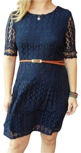 Xhilaration short dress Navy Lace Belted on Tradesy