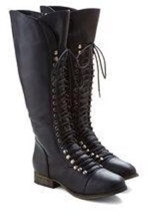 Modcloth Black Lace Up Zip Up Zipper Laces High High Bott Knee High Fall Winter Rare Boots