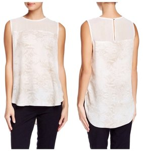 Vince Camuto Vince Sheer Day/night Work Week Chic Work Hi Lo Sleeveless Printed Blouse Top