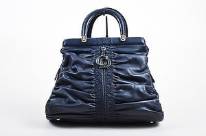 Dior Christian Navy Leather Satchel in Blue