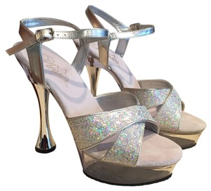 Pleaser Ankle Strap Platform Glitter Edgy Silver multi glitter/Clear Formal