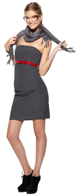 Item - Navy Blue Maggy Boutique Polka Dot Strapless Knee Length Work/Office Dress Size 4 (S)